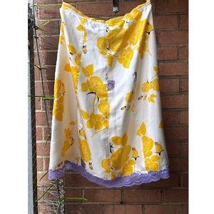 Vintage Perry Ellis floral laced silk skirt